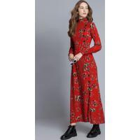 Vestido Mídi Gola Alta Estampa Vermelho