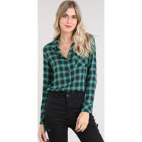 d4133b83c7 AMARO  Camisa Feminina Estampada Xadrez Com Bolso Manga Longa Verde