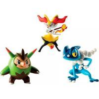 Conjunto De Figuras Pokémon Quilladin Braixen Frogadier Sunny - Unissex-Incolor