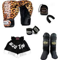 Kit Muay Thai Fheras Top - Luva Bandagem Bucal Caneleira Shorts(Fheras) - 14 Oz Onça