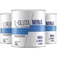 Kit 3Xl-Glutamina Unidades De 300 Gramas Clinic Mais - Unissex