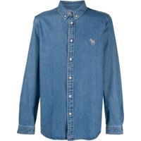 Ps Paul Smith Camisa Jeans Com Logo Bordado - Azul