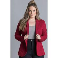 Blazer De Moletom Poá Bordô Plus Size