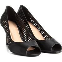 Peep Toe Couro Shoestock Salto Médio Lasercut - Feminino