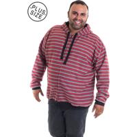 Blusão Moletom Bolso Canguru Plus Size Estampado 7693 Listrado