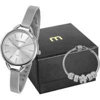 Relógio Feminino Mondaine Analógico 53612L0Mvne2Kb Com Acessório - Feminino-Prata