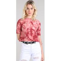 bbbc4af673 Netshoes  Blusa Feminina Cropped Estampada Tie Dye Em Moletom Manga Curta  Decote Redondo Vermelha