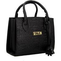 Bolsa Selten Handbag Sanfonada Feminina - Feminino-Preto