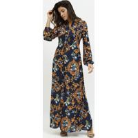 Vestido Longo Arabescos- Azul Marinho & Dourado- Milmiliore