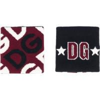 Dolce & Gabbana Munhequeiras Jacquard Com Logo - Vermelho