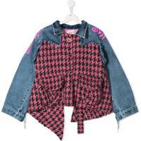 Natasha Zinko Kids Jaqueta Jeans Com Recorte Pied-De-Poule - Rosa