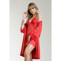 Kit Robe + Camisola Dakota Renda Luxo Sensual Roupao Noite