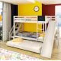Beliche Teen Play C/ Cama Auxiliar Escorregador/ Escada Lateral E Lousa - Madeira Maciça - Branco