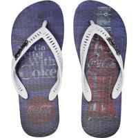 Chinelo Coca Cola Shoes Rust Wood Azul-Marinho/Branco