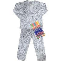 Pijama Infantil Win Design Pintar Inverno Floresta Masculino - Masculino-Cinza