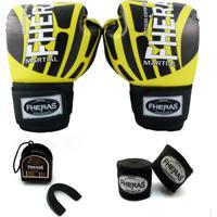 Kit Boxe Muay Thai Top - Luva Bandagem Bucal - 10 Oz Elite