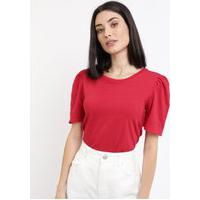 Blusa Feminina Básica Texturizada Manga Bufante Decote Redondo Vermelha