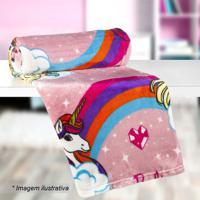 Manta Fleece Solteiro Barbie®- Rosa & Branca- 125X15Lepper
