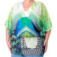 Blusa Confidencial Extra Plus Size Estampada Feminino - Feminino-Verde