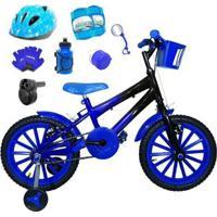 Bicicleta Infantil Aro 16 Com Capacete, Kit Proteção E Acelerador - Masculino