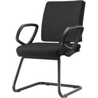 Cadeira Simple Com Braco Fixo Assento Courino Base Fixa Preta - 54976 Sun House