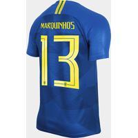 52624598b Netshoes  Camisa Seleção Brasil Ii 2018 Nº 13 Marquinhos - Torcedor Nike  Masculina - Masculino