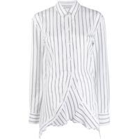 Y/Project Camisa Listrada Com Barra Assimétrica - Branco