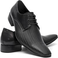 Sapato Social Salazari Bico Fino Couro Masculino - Masculino-Preto