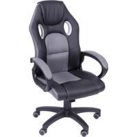 Cadeira Office Gamer - Preta & Cinza - 117X46X51Cm