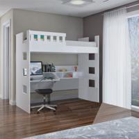 Cama Alta C/ Escrivaninha E Grade De Proteção Foscarini U231623 100%Mdf