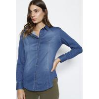 Camisa Jeans Com Pespontos - Azul - Dudalinadudalina