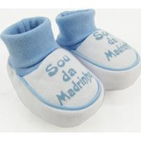 Pantufa Bebê Masculina Suedine Sou Da Madrinha Azul Claro - Masculino-Azul
