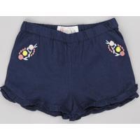 Short Infantil Com Linho Bordado Floral E Babado Azul Marinho
