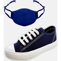 Kit Infantil Tênis Colegial E Máscara Mz Shoes Marinho