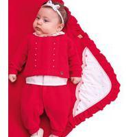 Saída Maternidade Paraiso Plush Bordado E Pérolas Vermelho