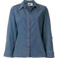 Alice+Olivia Camisa Jeans Com Bordado - Azul