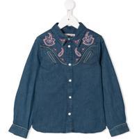Bonpoint Camisa Jeans Com Bordado Paisley - Azul