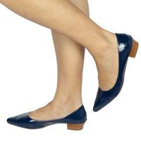 Scarpin Jane Suely Comfort Verniz Azul-Marinho