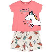 Pijama Curto Infantil Menina Estampado Hering Kids