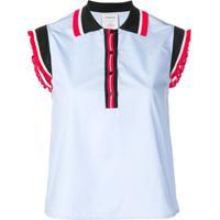 Farfetch  Pinko Camisa Polo Com Babado - Azul 2bee591f3a5