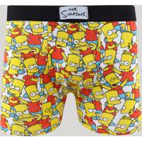 Cueca Boxer Masculina Bart Simpson Estampada Branca
