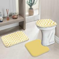 Jogo Tapetes Para Banheiro Yellow Chevron