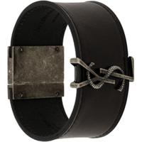 Saint Laurent Bracelete Com Placa Monogramada - Preto