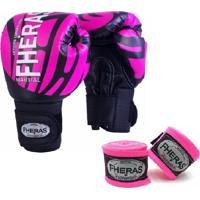 Kit Boxe Muay Thai Fheras New Top Luva + Bandagem Elite Rosa 003