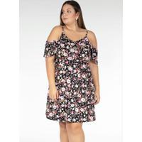 Vestido Curto Floral Com Alcinhas Plus Size