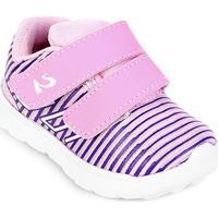 Tênis Infantil No Stress Velcro Bebê - Feminino-Rosa Bebê