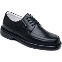 Sapato Clacle Casual Conforto Masculino Com Cadarço - Masculino-Preto