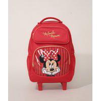 Mochila Infantil Minnie Mouse Com Rodas Vermelha