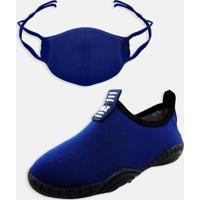 Kit Infantil Tênis Calce Fácil E Máscara Mz Shoes Marinho