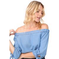 Blusa Jeans Vero Moda Ombro A Ombro Azul